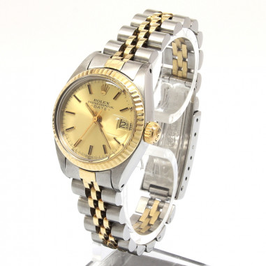 Rolex Oyster Date Lady Stahl/Gold Plexi