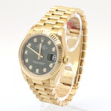 Rolex Datejust 31 Medium Gelbgold Grün Dia