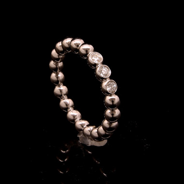 Kugelring 3 Diamanten Weißgold